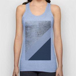 Modern minimalist navy blue grey and silver foil geometric color block Unisex Tank Top