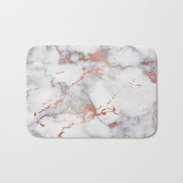 Glam stylish faux rose gold gray abstract blush chic marble Bath Mat