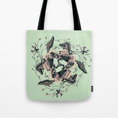 Horses and birds Tote Bag