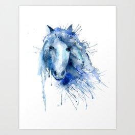 Watercolor Horse Portrait Paint Splatter Art Print