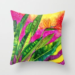 Bird of paradise flower Throw Pillow