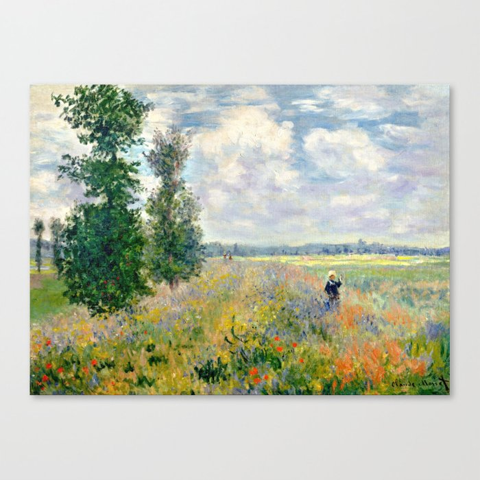 Poppy Fields Near Argenteuil By Claude Monet Canvas Print By Vintage Archive Society6
