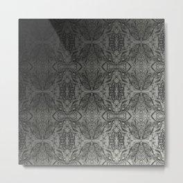 Black Gradient Floral Doodle Pattern Metal Print
