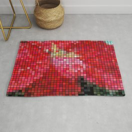 Mottled Red Poinsettia 2 Mosaic Rug