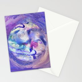 Lavender, Purple, Blue and Pink Abstract Mandala 1666 Stationery Cards