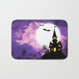 Creepy Halloween Haunted Castle With Bats At Full Moon Ultra HD Bath Mat