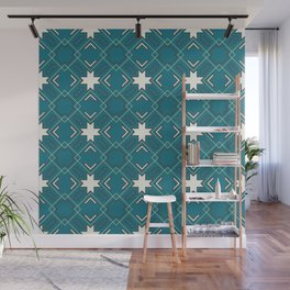Ethnic pattern in blue Wall Mural