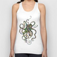 pink Tank Tops featuring Octopsychedelia by TAOJB