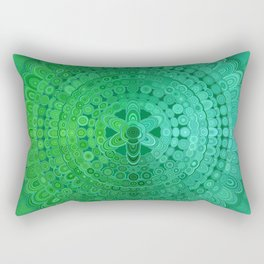 Green Mandala Circle Rectangular Pillow