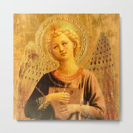 """Fra Angelico (Guido di Pietro) """"Music-making angel, Detail from the Linaioli Tabernacle"""" 7. Metal Print"""