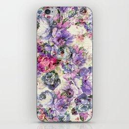 Vintage bohemian rustic pink lavender floral iPhone Skin