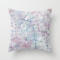 kansas city Throw Pillows featuring Kansas city map by MapMapMaps.Watercolors