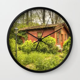 Pretty in red  Country school #1 Wall Clock