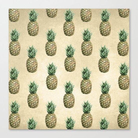 Vintage Pineapple Pattern Linen Canvas Print