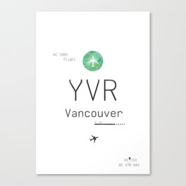 YVR VANCOUVER AIRPORT CODE GREEN Canvas Print