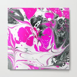 Abstract Neon Pink Black Cute Watercolor Swirls Metal Print
