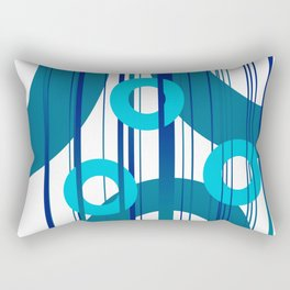 Three big and small Turquoise Rings with Stripes Rectangular Pillow