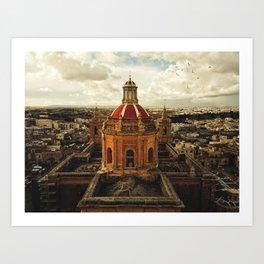 A drone shot of a Roman Catholic Church in Malta Art Print
