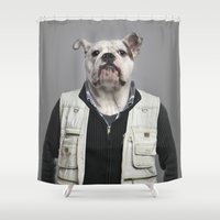 english bulldog Shower Curtains featuring English Bulldog Worker by Life on White Creative