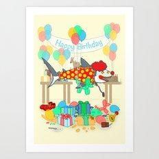 The Birthday Party Clown Shark Art Print