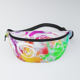 rose texture abstract  with colorful painting abstract background in pink blue green red yellow purp Fanny Pack