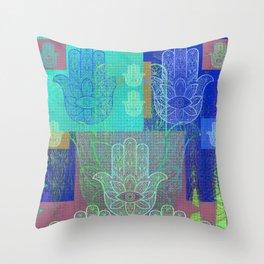 Moroccan Motif Hamsa Mosaic Throw Pillow