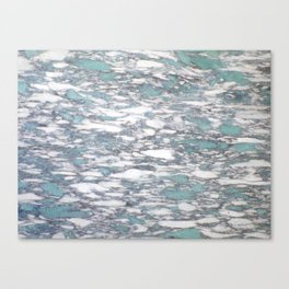 Teal spotted marble Canvas Print