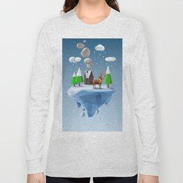 Geometric, low poly winter landscape Long Sleeve T-shirt