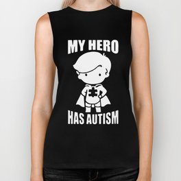 my hero has autism t-shirts Biker Tank