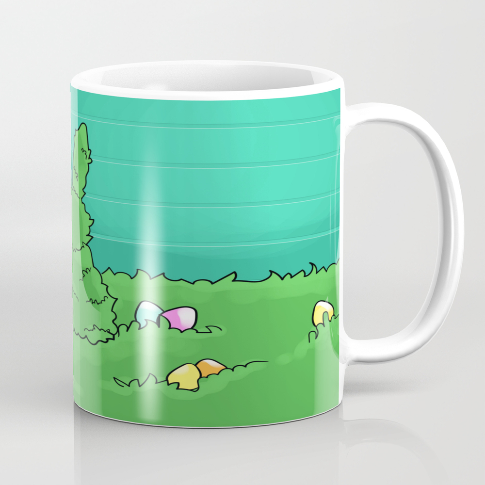 Rabbit Easter Green Blue Egg Coffee Cup by Papperart MUG8657150