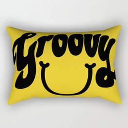 Groovy Smile // Black Smiley Face Fun Retro 70s Hippie Vibes Mustard Yellow Lettering Typography Art Rectangular Pillow