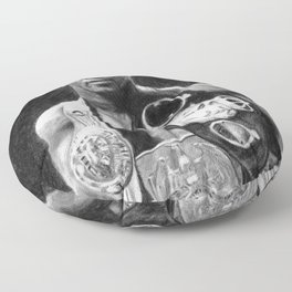 Mike Tyson Pencil Drawing Floor Pillow