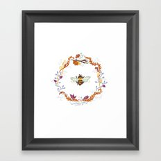 Bee with Flowers Framed Art Print