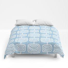 Mid Century Modern Atomic Rings Pattern Light Blue Comforters