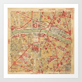 Paris City Centre Map - Vintage Full Color Art Print
