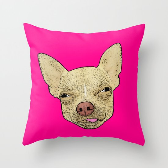 Chihuahua Lick Me Funny Dog Art Throw Pillow By Plasticpam Society6