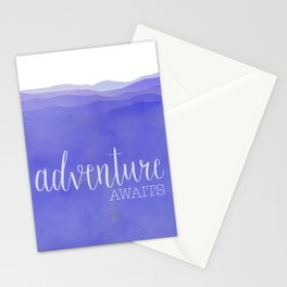 Adventure Awaits quote purple mountains landscape Stationery Cards