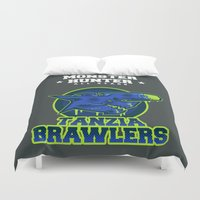 monster hunter Duvet Covers featuring Monster Hunter All Stars - The Tanzia Brawlers by Bleached ink