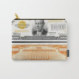 Vintage 1934 $100,000 Dollar Bill Gold Certificate Woodrow Wilson Wall Art Carry-All Pouch