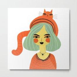 CAT BONNET Metal Print