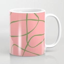 Green Line Art on Pink Background Coffee Mug