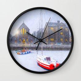 Snow Falling On Claddagh Quay in Historic Galway Ireland Wall Clock
