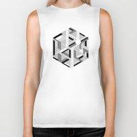hexagon Biker Tanks featuring Hexagon monochrome by eDrawings38
