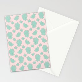 Greenery over Pink Pattern Stationery Cards