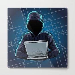 Computer hacker spread a net Metal Print