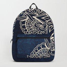 Cream and navy mandala on indigo ink Backpack