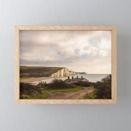 Coastguard cottages facing the Seven Sisters Framed Mini Art Print