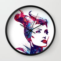 maleficent Wall Clocks featuring Maleficent by lauramaahs