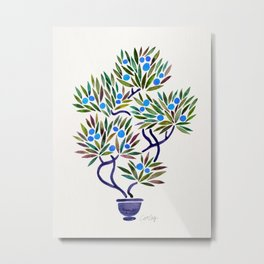 Bonsai Fruit Tree – Blue Palette Metal Print