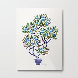 Bonsai Fruit Tree – Blue Palette Metal Print